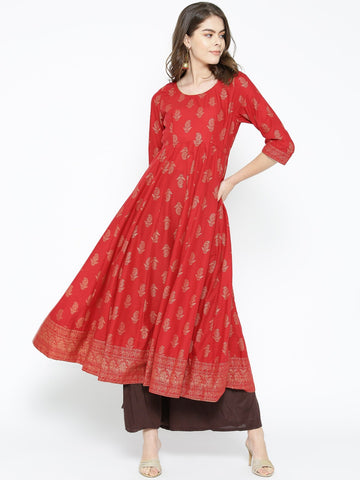 Beautiful Cotton Block Printed Anarkali Kurti
