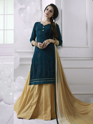 Stunning Blue Georgette Embroidered Suit with FREE Clutches