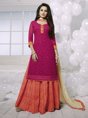 Stunning Magenta Georgette Embroidered Suit with FREE Clutches