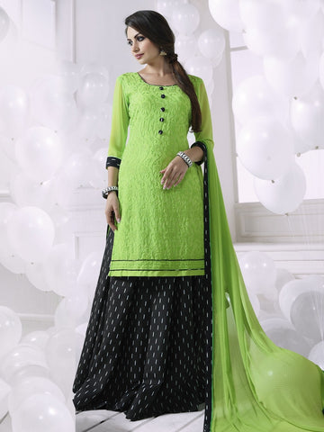 Stunning Green Georgette Embroidered Suit with FREE Clutches
