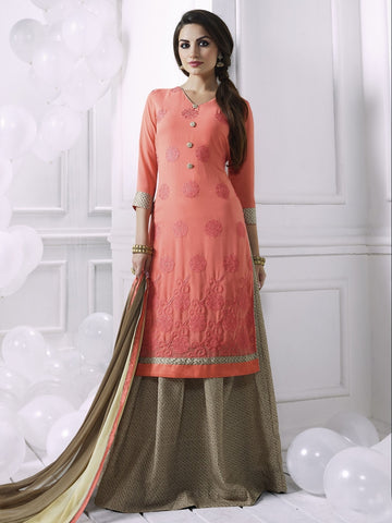 Stunning Peach Georgette Embroidered Suit with FREE Clutches