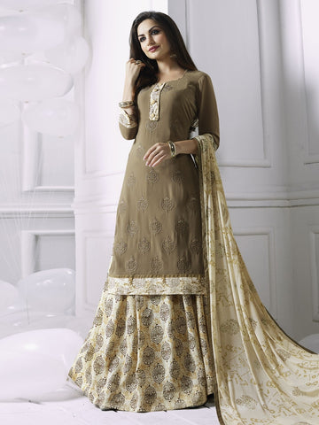 Stunning Brown Georgette Embroidered Suit with FREE Clutches