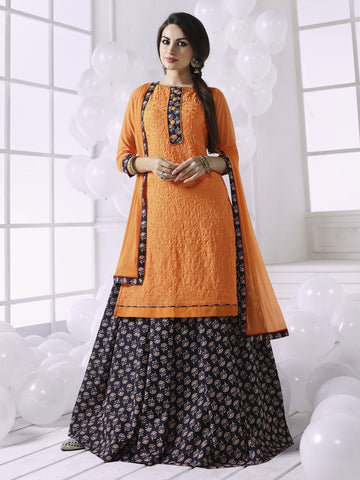 Stunning Orange Georgette Embroidered Suit with FREE Clutches