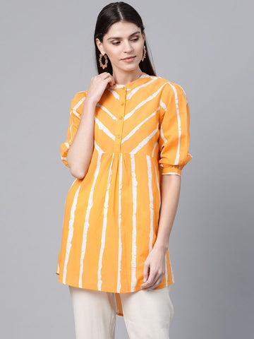 Yellow Color Cotton Printed Top