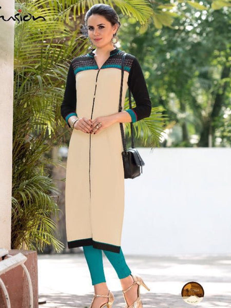 Beige and Black South Cotton Kurti