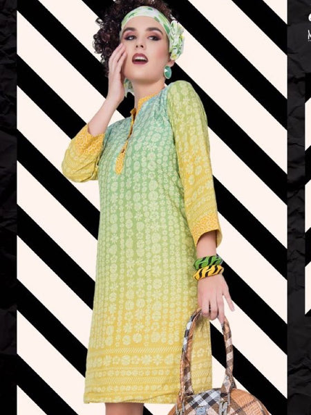 Lemon Yellow and Green Rayon Kurti - PurpleTulsi.com  - 1