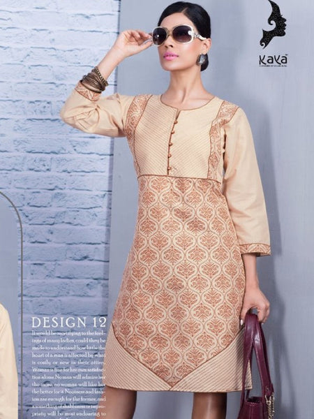 Beige Cotton Kurti - PurpleTulsi.com  - 1