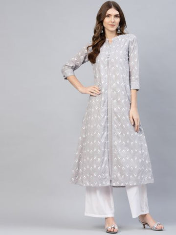 Grey Color Cotton Printed Anarkali Kurti