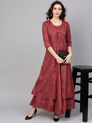 Maroon Color Cotton Printed Anarkali Kurti