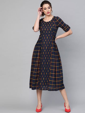 Navy Blue Color Cotton Printed Dress