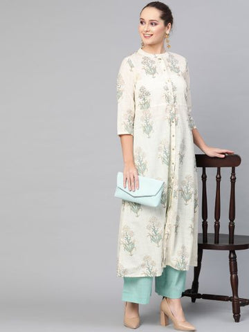 Cream and Blue Color Cotton Printed Straight Cut Kurti with Palazzo