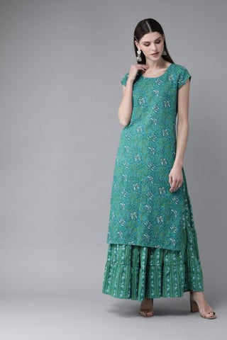 Green Color Cotton Printed Straight Cut Kurti with Skirt