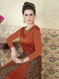 Astonishing and Lifestyle Rust Satin Embroidered Anarkali Gown