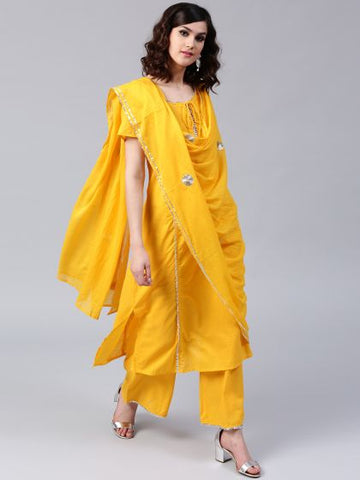 Mustard Color Cotton Straight Cut Suit