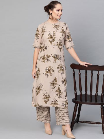 Grey Color Cotton Printed Straight Cut Kurti with palazzo
