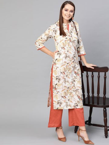 Off White Color Cotton Printed Straight Cut Kurti with palazzo