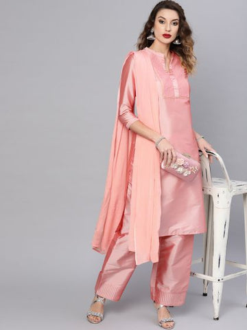 Pink Color Polyester Straight Cut Suit