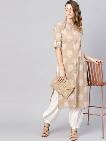 Beige Color Cotton Printed Straight Cut Kurti