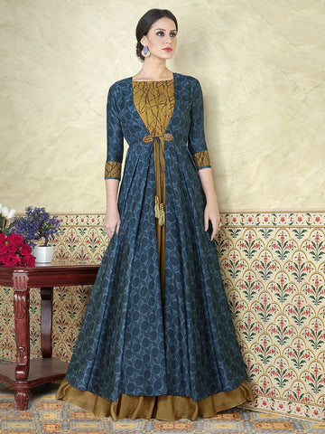 Astonishing and Lifestyle Blue Satin Embroidered Gown