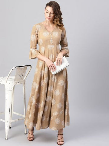 Beige Color Cotton Printed Anarkali Kurti