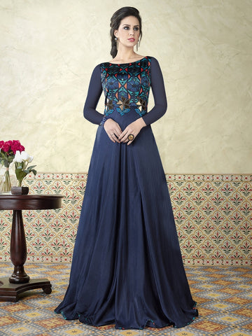 Astonishing and Lifestyle Navy Blue Satin Embroidered Gown