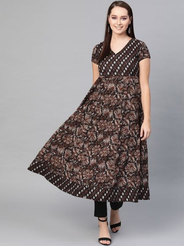 Black Color Rayon Printed Anarkali Kurti