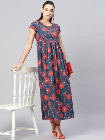 Blue and Red Color Cotton Printed Anarkali Kurti