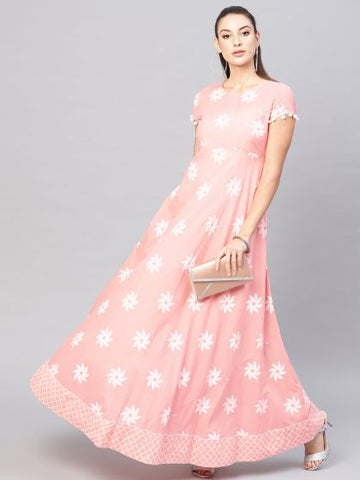 Peach Color Cotton Printed Anarkali Kurti