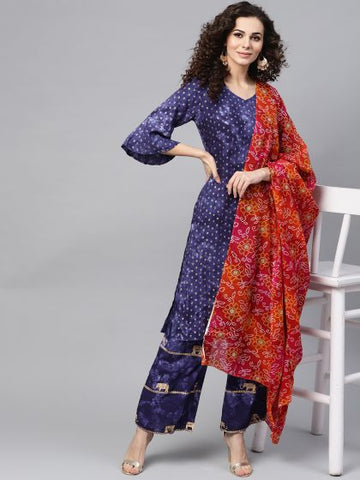 Navy Blue Color Cotton Block Printed Straight Cut Suit