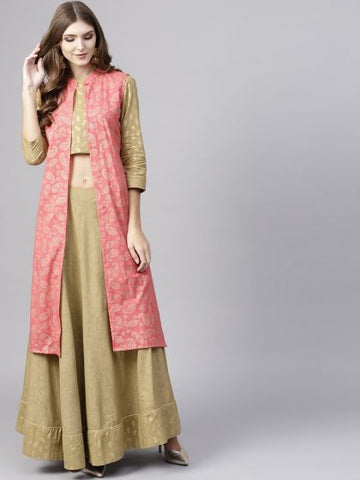 Green Color Cotton Printed  Indo-Western Designer Dress