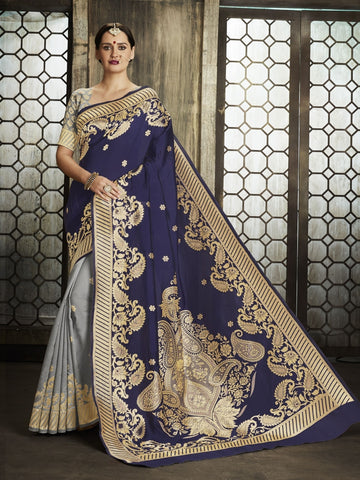 Navy Blue Pure Banarsi Silk Jacqaurd Saree