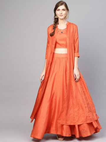 Orange Color Cotton Printed Indo-Western Designer Dress