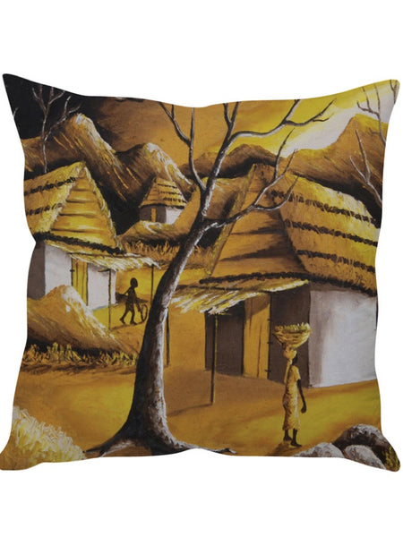 Multicolour Village Designer Cushion Cover