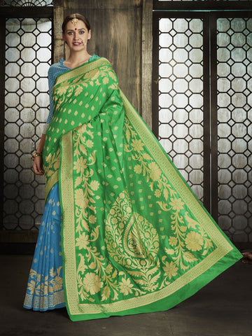 Green Pure Banarsi Silk Jacqaurd Saree