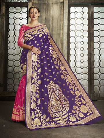 Purple Pure Banarsi Silk Jacqaurd Saree