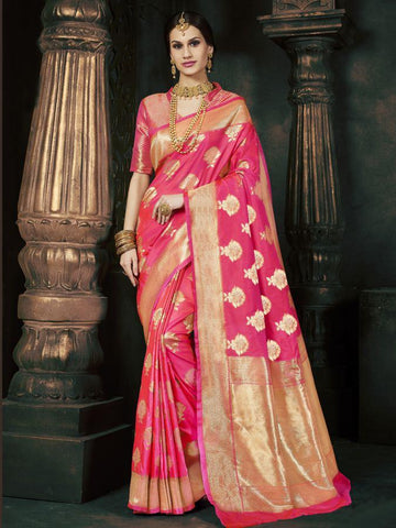 Traditional Magenta Pure Banarsi Silk Jacqaurd Saree