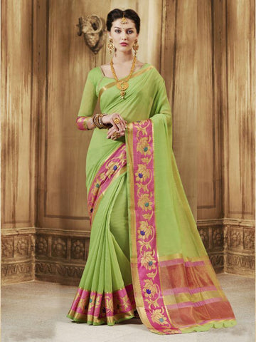 Traditional Green Cotton Silk Jacqaurd Saree