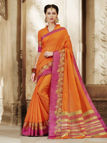 Traditional Orange Cotton Silk Jacqaurd Saree