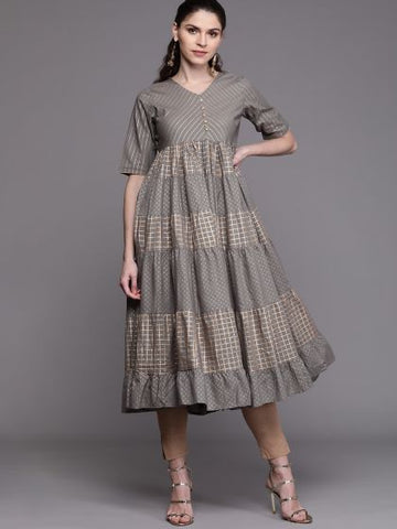 Grey Color Cotton Block Printed Dress