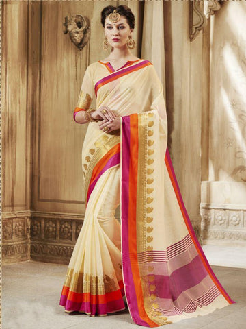 Traditional Cream Cotton Silk Jacqaurd Saree