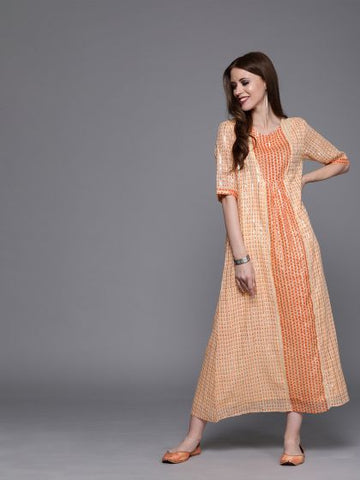 Peach Color Linen and Cotton Dress
