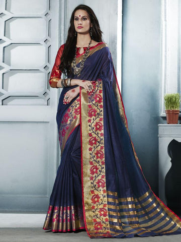 Traditional Navy Blue Cotton Silk Jacqaurd Saree