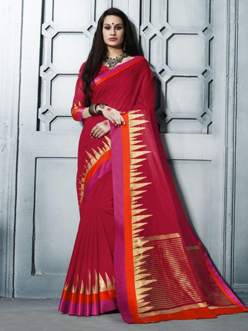 Traditional Red Cotton Silk Jacqaurd Saree