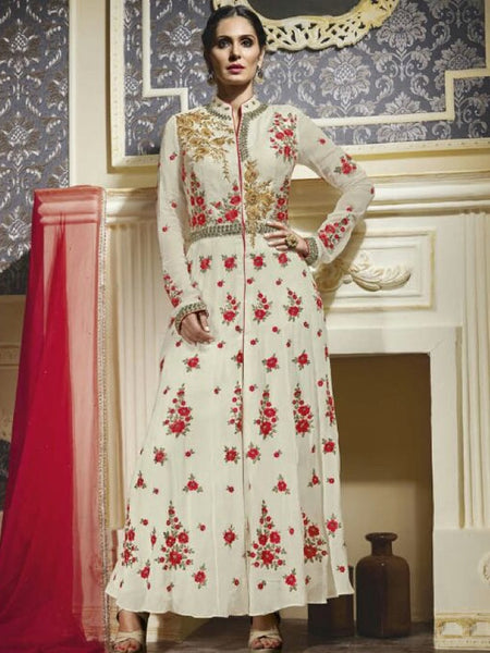 Off White and Red Premium Anarkali Suit - PurpleTulsi.com  - 1
