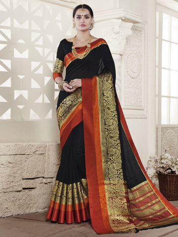 Traditional Black Handloom Silk Jacqaurd Saree