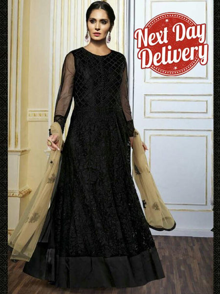 Black and Gold Premium Anarkali Suit - PurpleTulsi.com  - 1