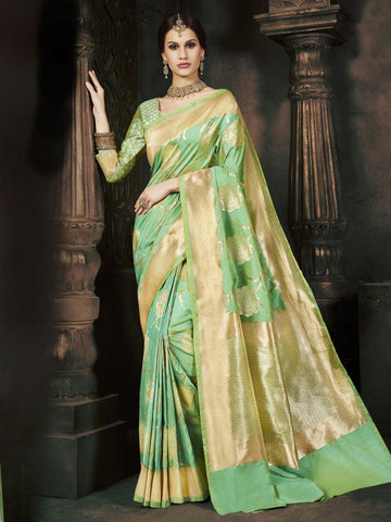 Traditional Green Pure Banarsi Silk Jacqaurd Saree