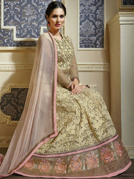 Beige and Pink Premium Anarkali Suit - PurpleTulsi.com  - 1