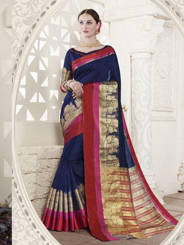 Traditional Navy Blue Handloom Cotton Jacqaurd Saree