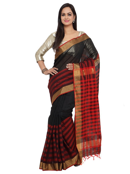 Black and Red Cotton Silk Saree